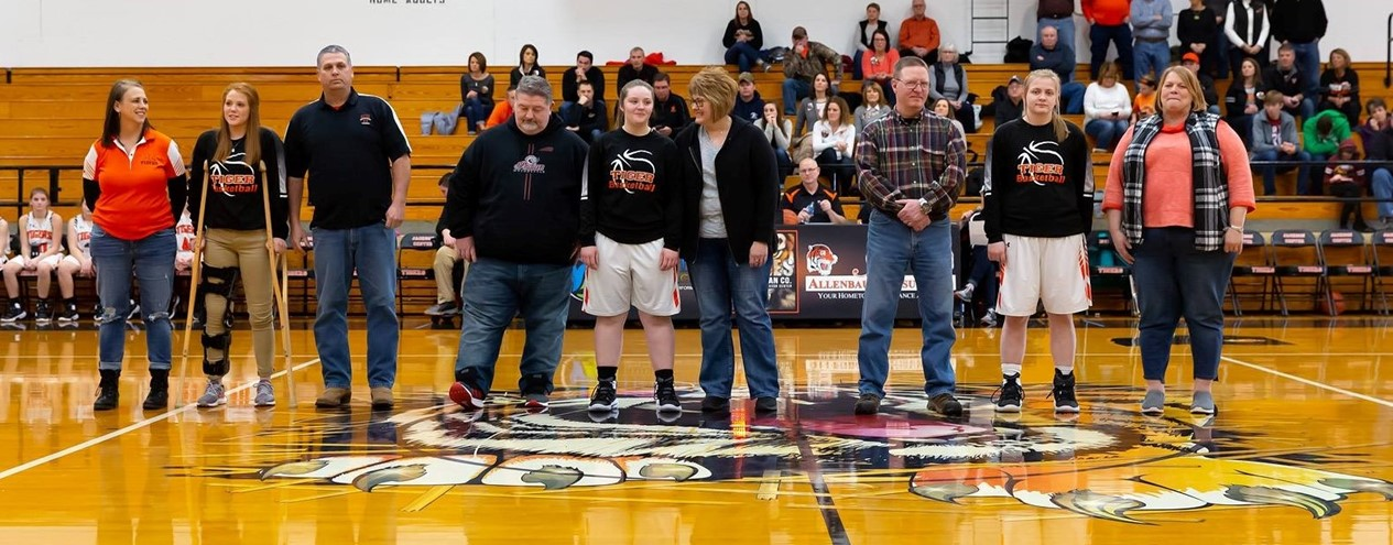 Senior Basketball Girls and Parents