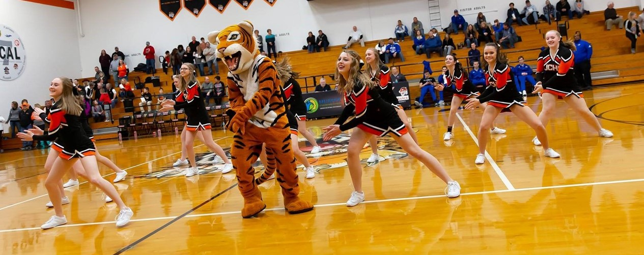 Tiger and Cheerleaders Performing