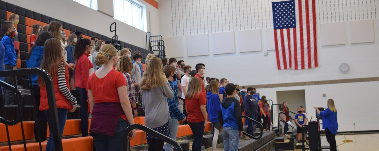 Choir students performaning at Veteran's Day