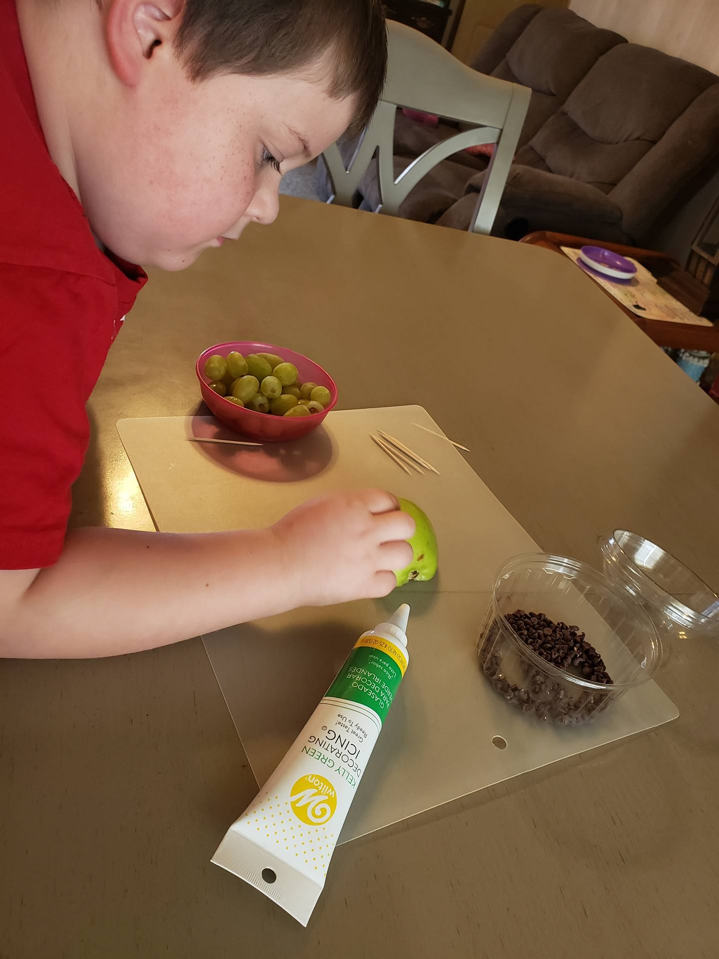 boy making food craft