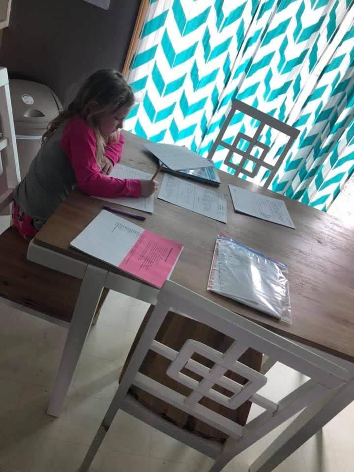 girl writing with pencil
