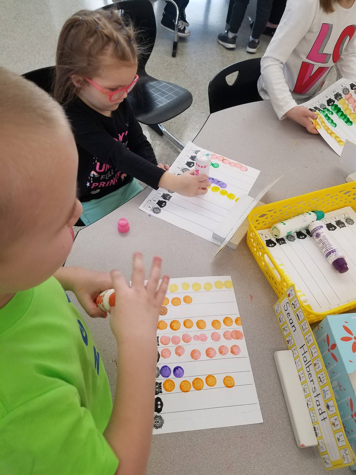 students working on counting
