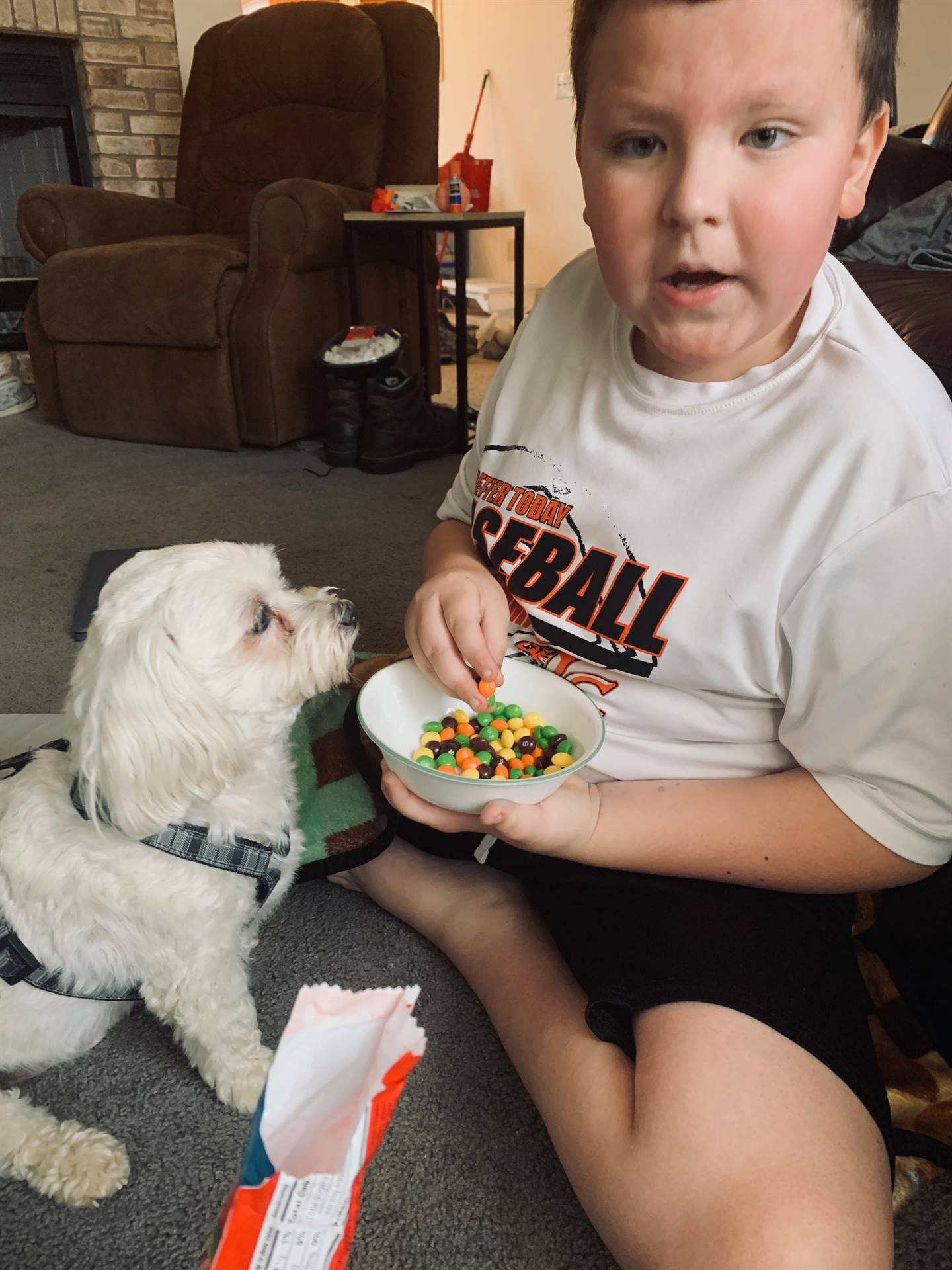 boy with skittles