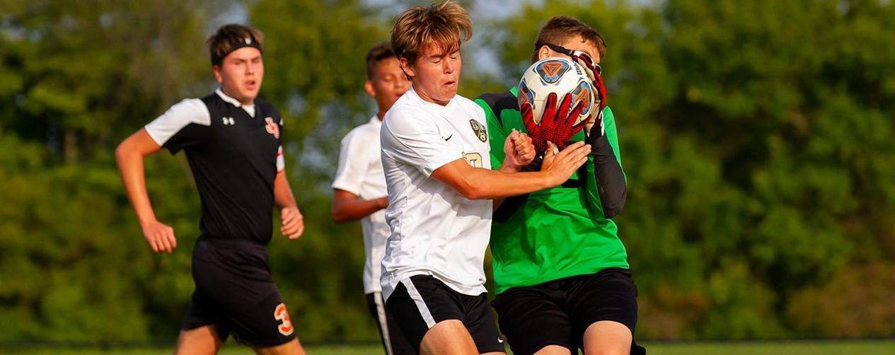 Soccer game goalee defense