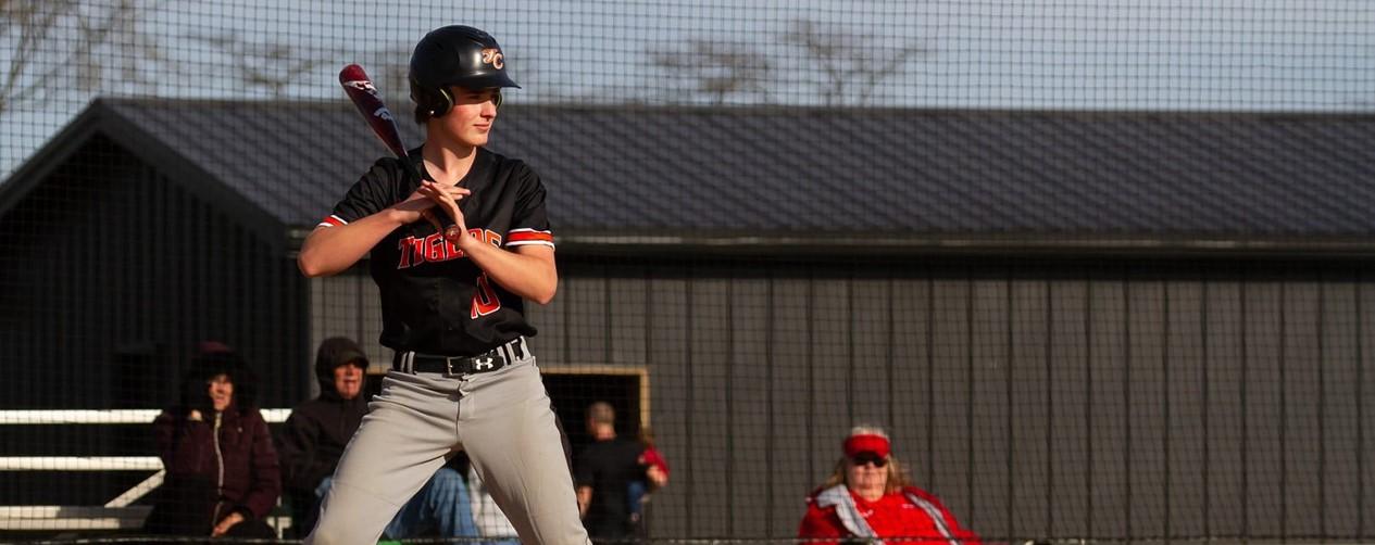 Boys baseball player at bat