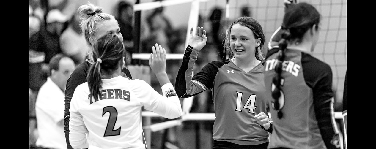 High School Volleyball High Five at the Net