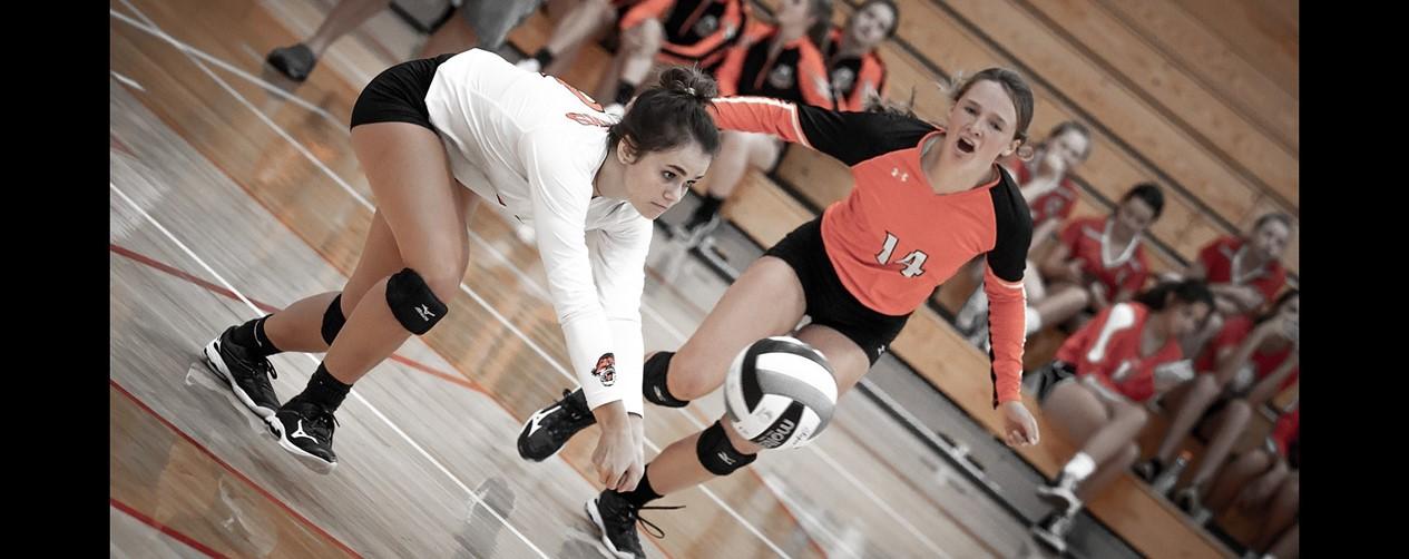 High school girls volleyball game
